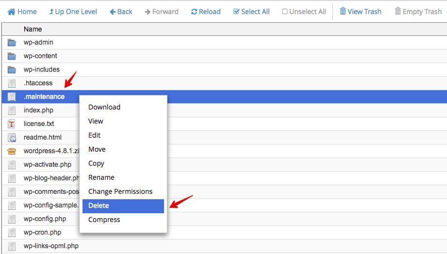 Solving WordPress maintenance mode issue