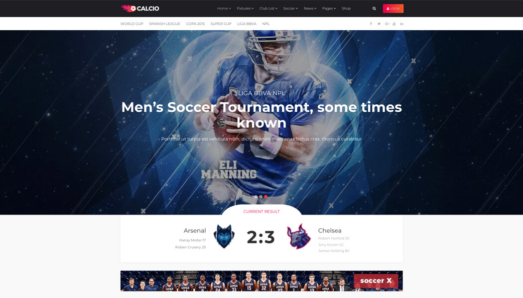 Calcio - WordPress Soccer theme for covering and managing tournaments online