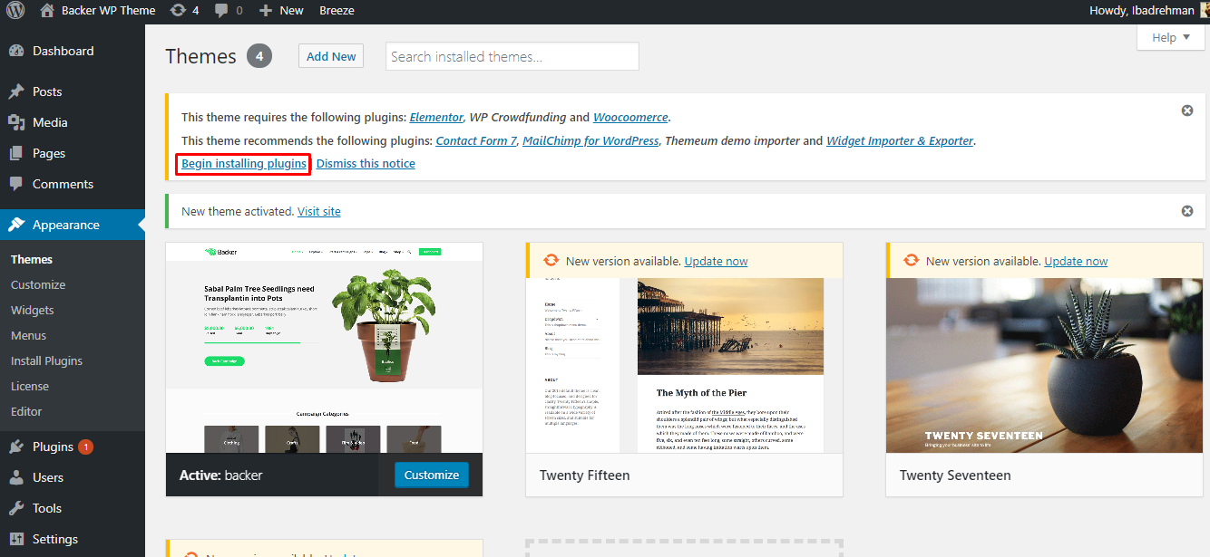 install WordPress crowdfunding theme