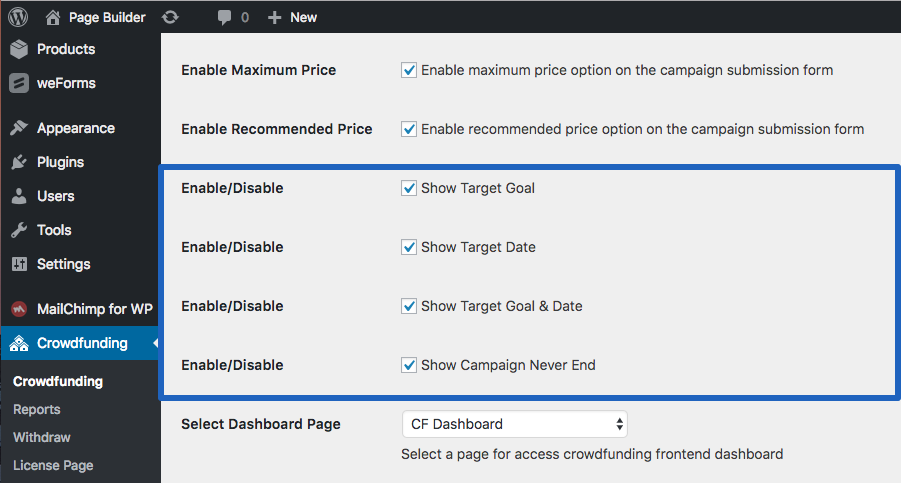 Target Goal Settings for WP Crowdfunding plugin