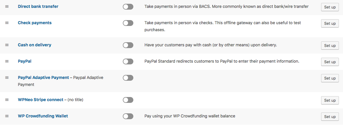 WP Crowdfunding Payment Gateway options