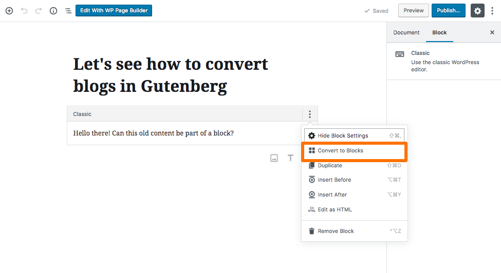 Converting content to block in Gutenberg editor
