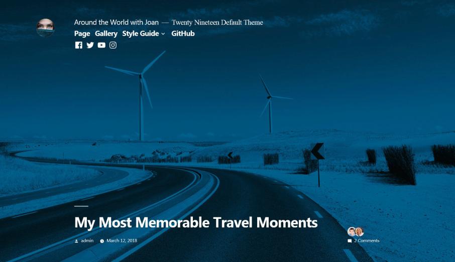 Twenty Nineteen Theme in WordPress 5.0