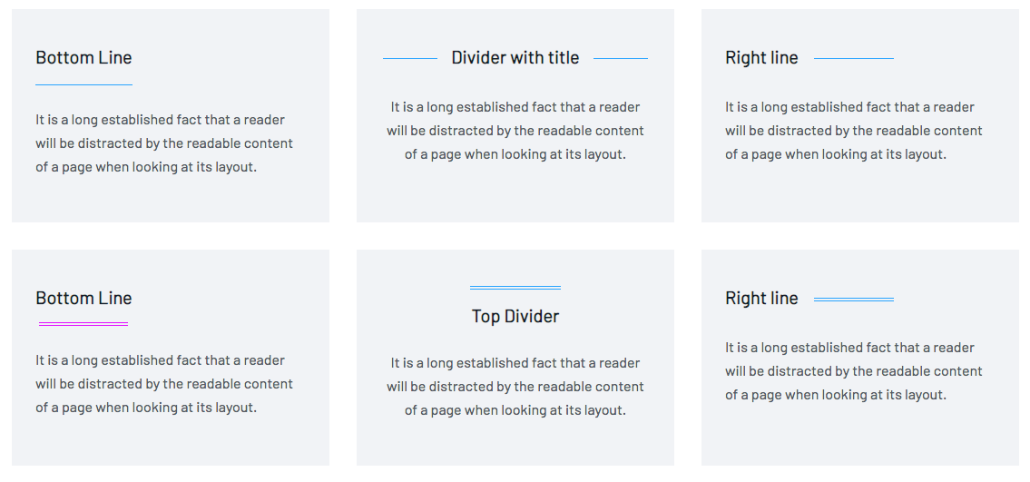 Align borders in different ways in divider addon in WP Page Builder