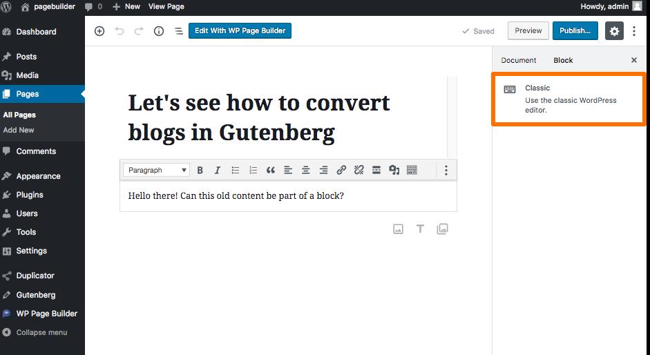 Classic Block in Gutenberg WordPress
