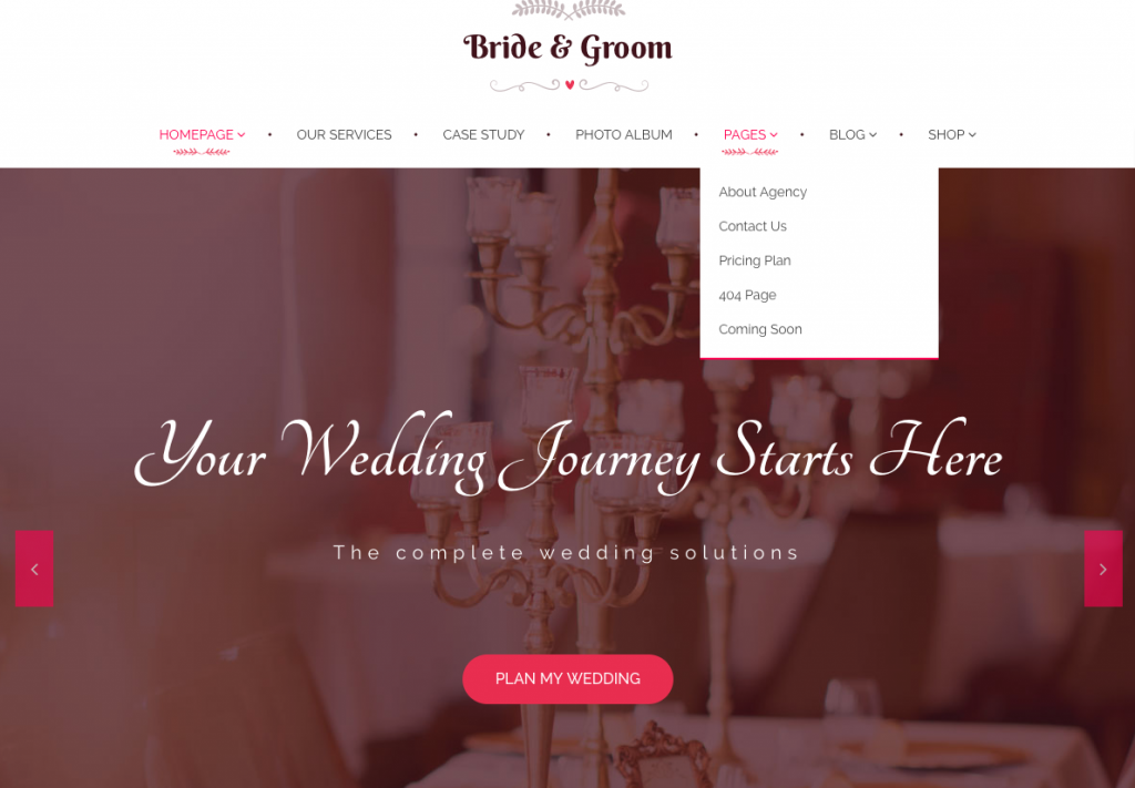 Wedding planner WordPress wedding website pages.