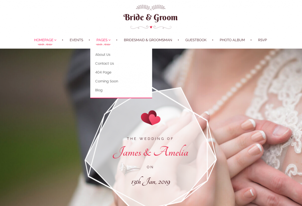 Personal WordPress wedding website pages.