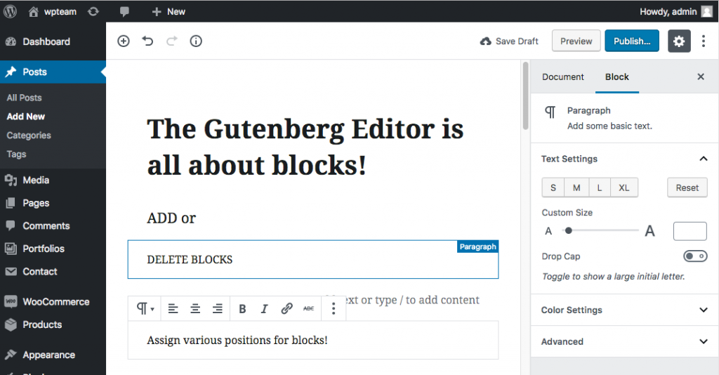 WordPress Gutenberg is all about blocks.
