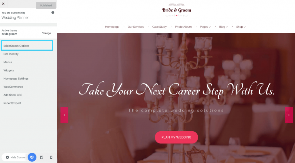Bride & Groom options in wedding WordPress theme