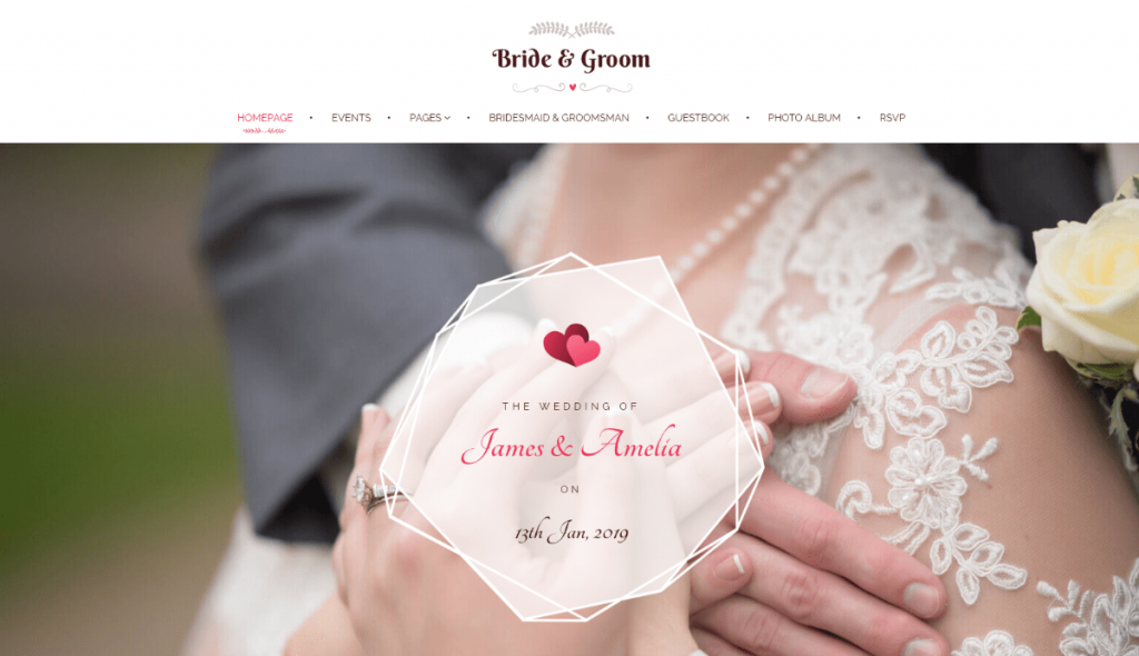 WordPress wedding website home