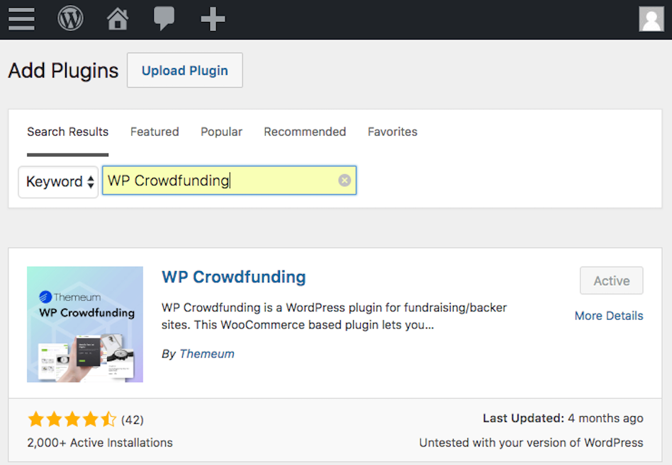 Installing WP Crowdfunding to set funding goals in WordPress