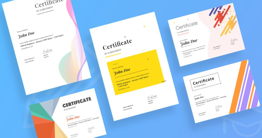 Offer beautiful certificates to your students on course completion.
