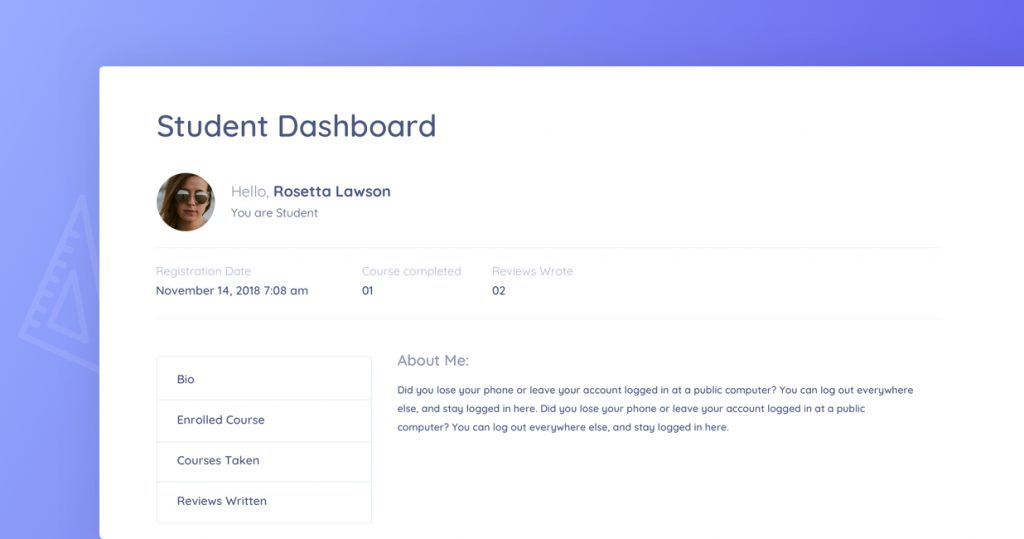 Frontend student dashboard to help students monitor their course performance.