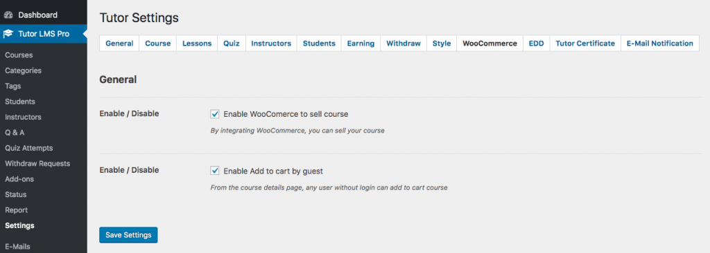Tutor LMS WooCommerce Settings