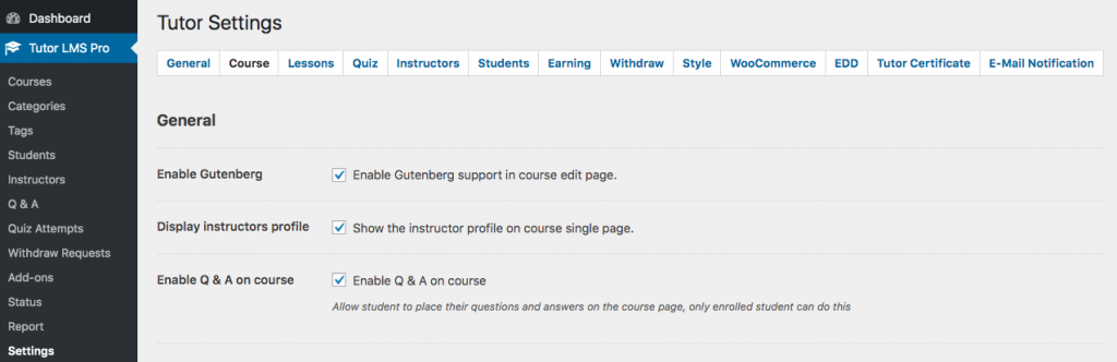 Tutor LMS Course Settings