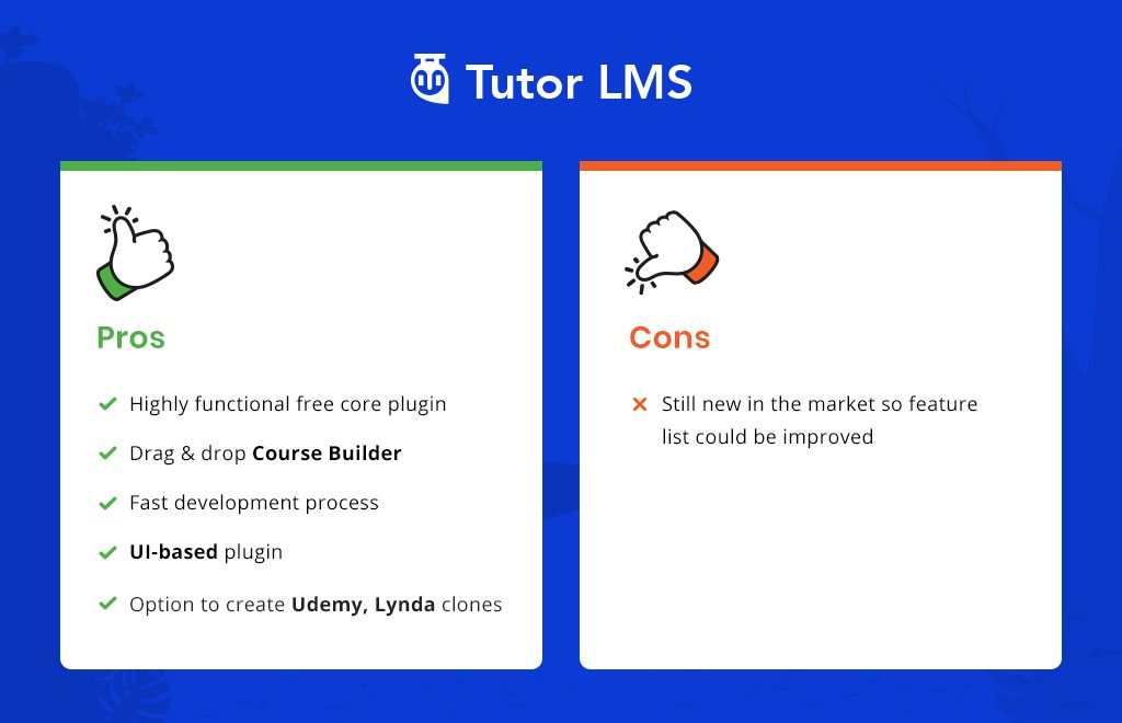 Tutor LMS vs LearnPress: Tutor LMS Pros & cons.