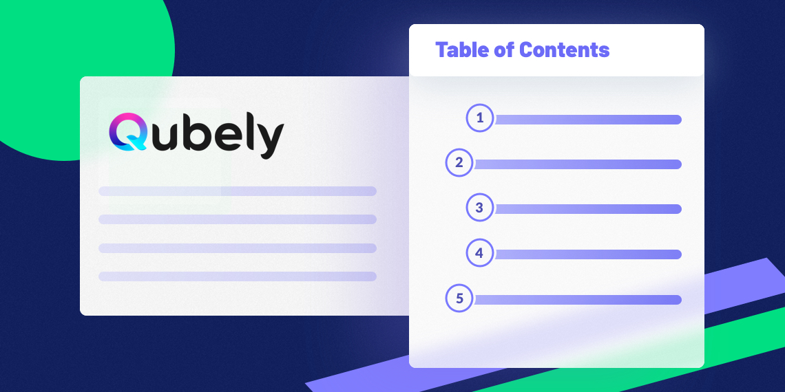 qubely new block table of contents
