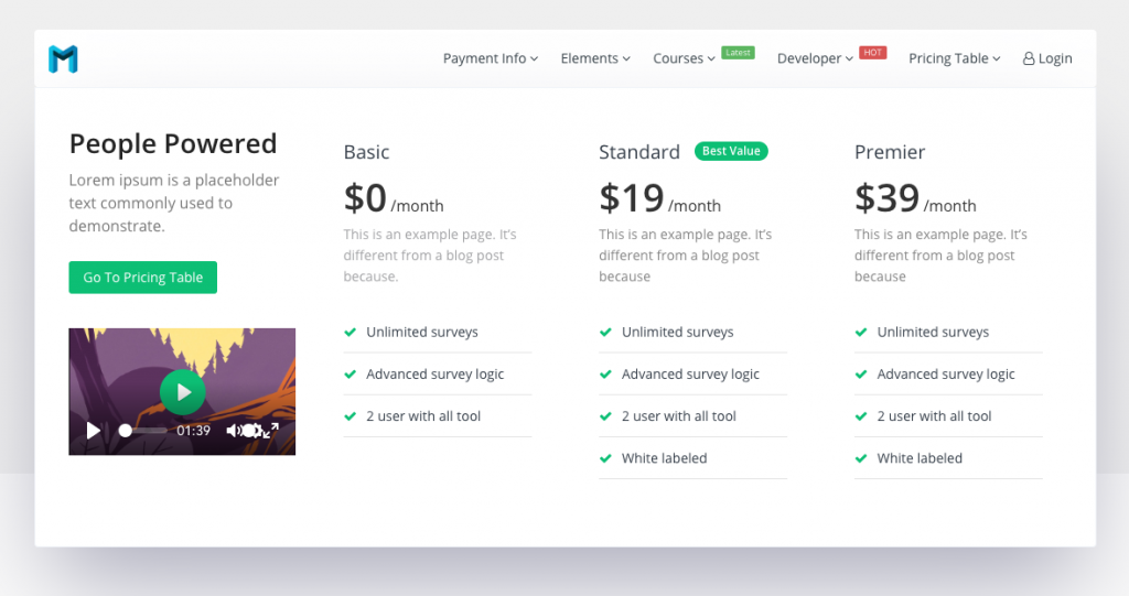 New Pricing Table Widget frontend view