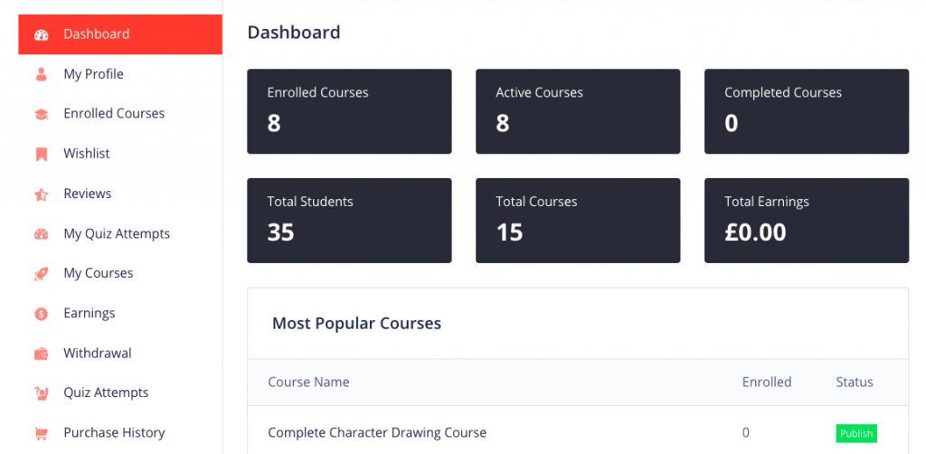 build a site like udemy instructor dashboard