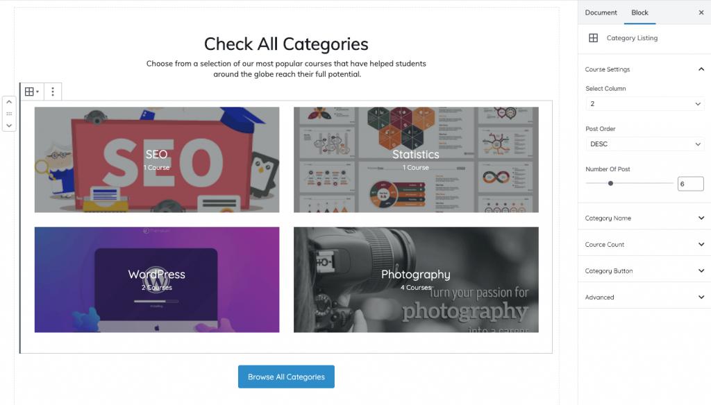 edumax category listing block