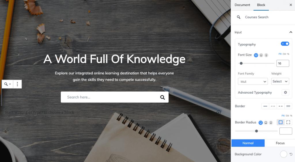 edumax course search block
