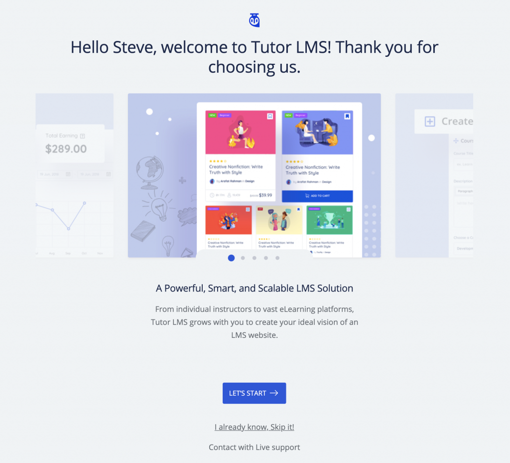 Tutor LMS Setup wizard welcome screen