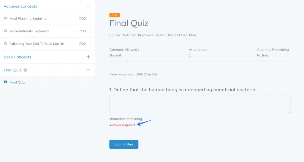 Tutor LMS All Quiz Question Types Get Validation Support