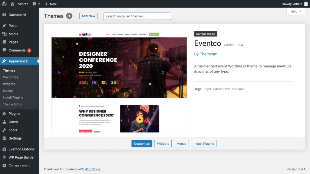 Install The Eventco Theme
