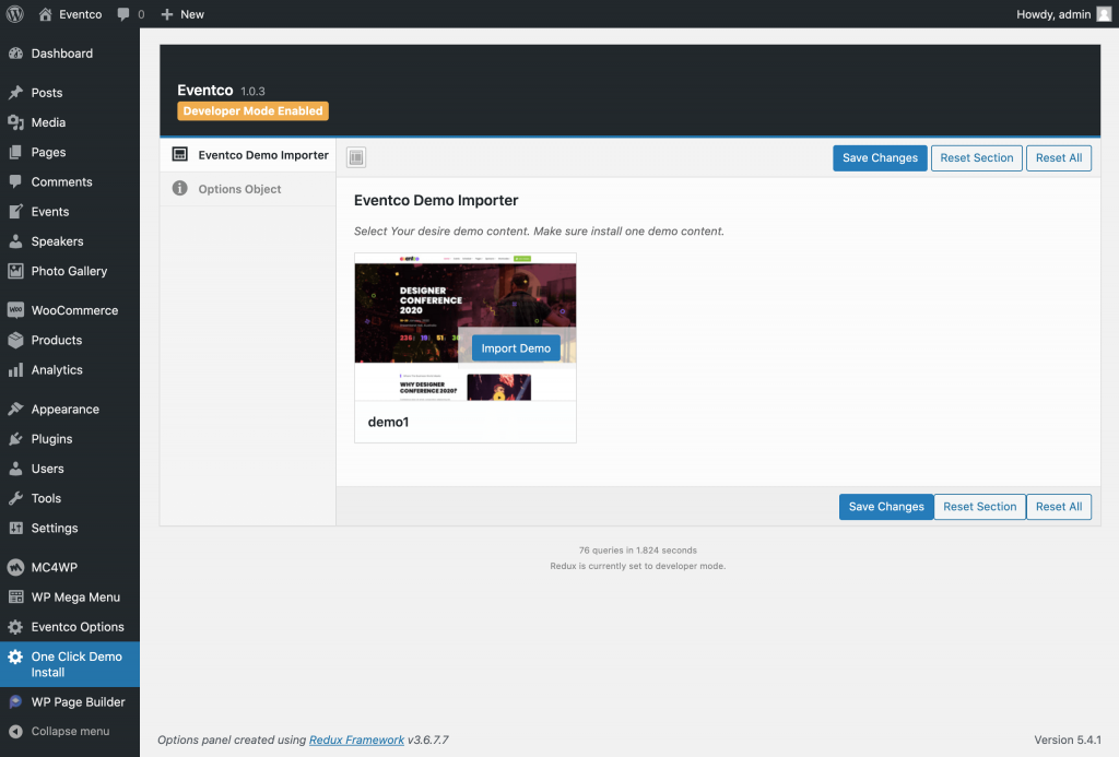 Import the Available Demo Content Eventco theme