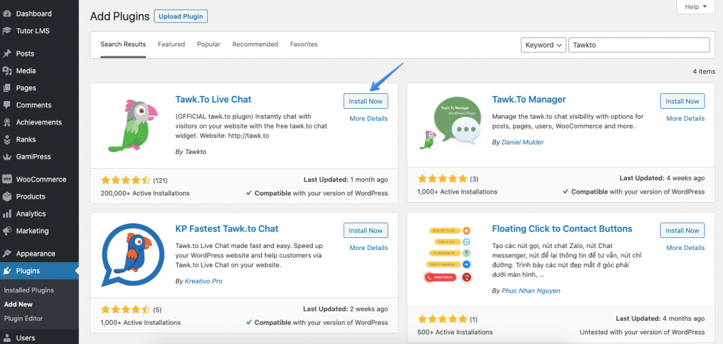 Install The Tawk.To Plugin to add live chat to WordPress site