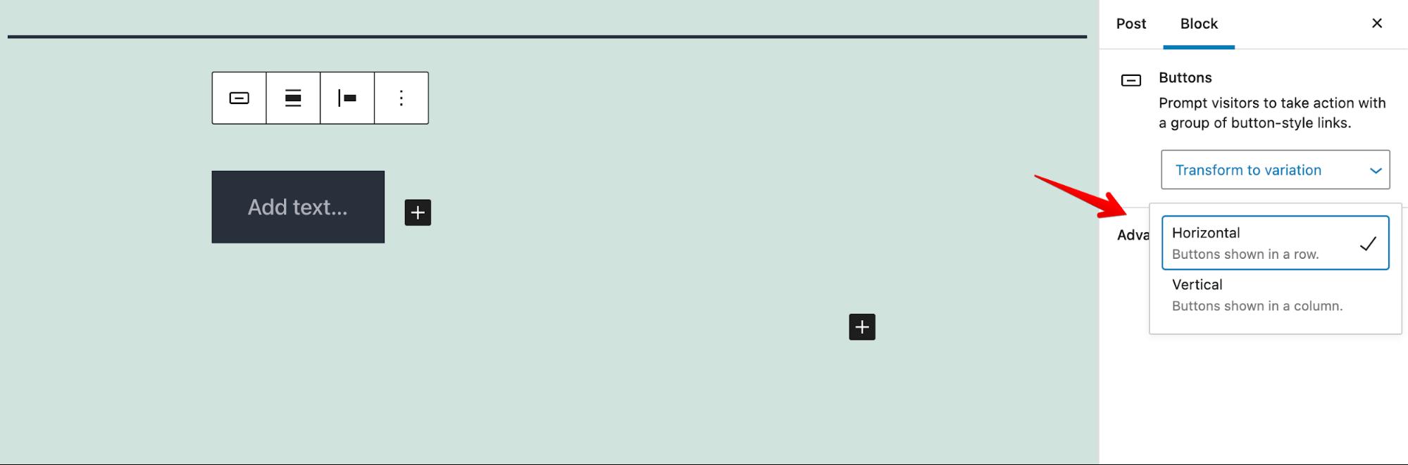Buttons block alignement new feature WordPress 5.7