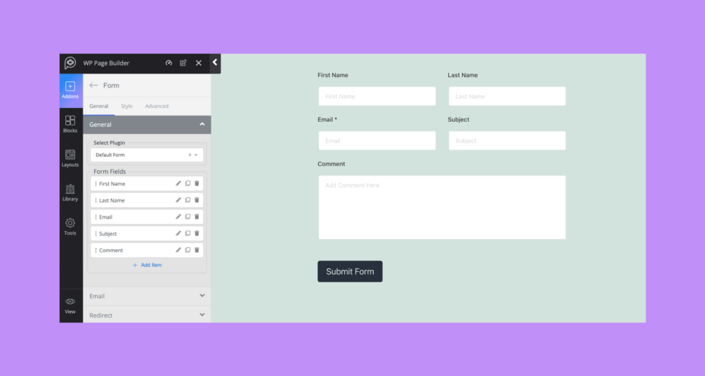 Form Text Field Sanitization Feature WP Page Builder